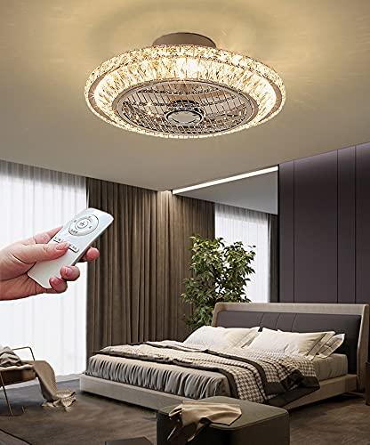 LED Silencioso Ventilador de Techo con Control Remoto 72W Moderno Luz de Ventilador con Luz Lámpara de Ventilador Regulable Invisible Salón para Infantil Dormitorio Cristal Luz de Techo 3 Velocidades