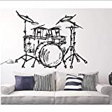Set Drums Silhouette Wall Mural Home Livingroom Fashion Decor Music Instrument Drums Set Kits Wall Sticker Quality Wallpaper 57 * 62Cm
