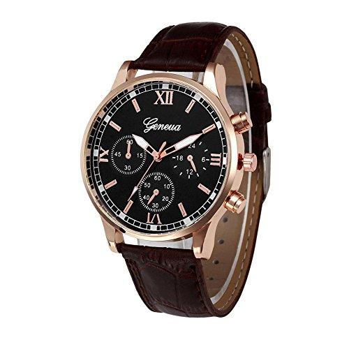 koperras Herren Armbanduhren Mode Retro Design Uhren - Männer Uhr Analoge Legierung Quarz Armbanduhr mit Lederarmband(Braun#Ø3.55cm)