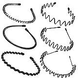 HO2NLE 6pcs Diadema de Metal Hombre y Mujer Unisex Diadema Negra Ondulada Flexible Diadema Antideslizante Simple Deporte Banda para el Cabello Peinado Pinchos Aro de Pelo Accesorios