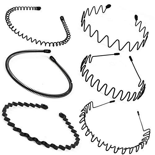 HO2NLE 6 Stück Unisex Haarband Schwarz Spring Wave Haarreifen Männer Haarbänder Metall Stirnband Herren Haarschmuck für Outdoor Sports Yoga