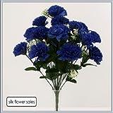 18 head royal blue carnation artificial silk bush wedding/grave/vase by Carnation bushes