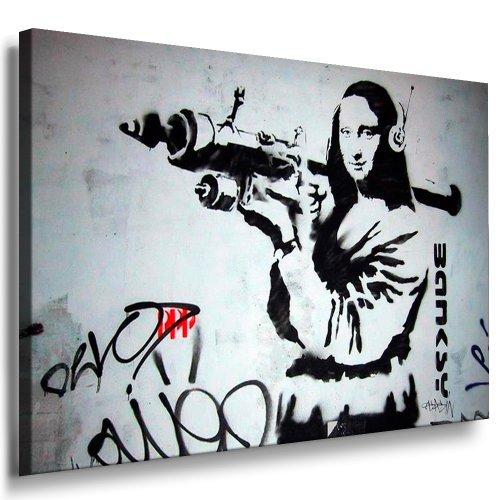 Fotoleinwand24 - Banksy Graffiti Art Mona Lisa with Weapon / AA0111 / Bild auf Keilrahmen/Grau / 80x60 cm