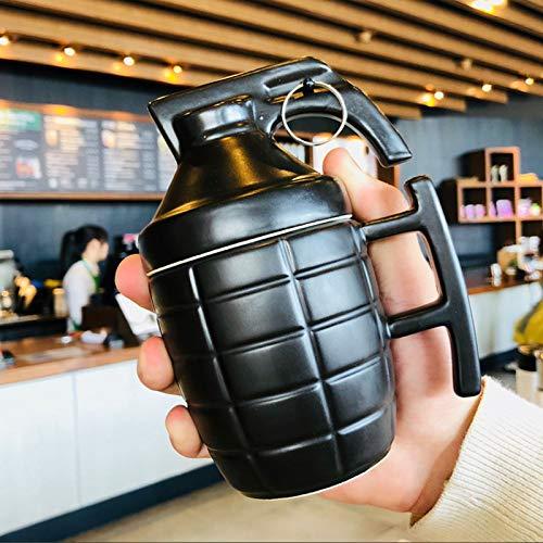 HRDZ Taza Divertida con Tapa Cuchara Forma extraña Taza de Agua Masculina Personalidad Creativa Tendencia Taza de café de cerámica