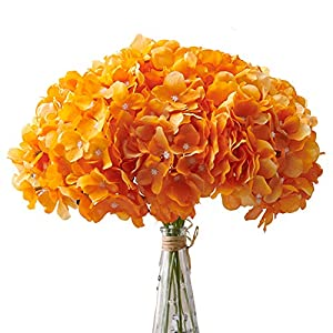 Aviviho Orange Artificial Flowers Hydrangea Silk Flowers Heads Pack of 10 Full Hydrangea Fake Flowers Artificial with Stems for Home Party Shop Autumn Decoration