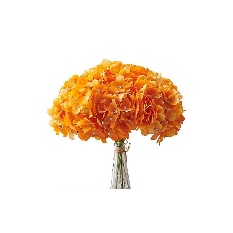 silk flower arrangements aviviho orange artificial flowers hydrangea silk flowers heads pack of 10 full hydrangea fake flowers artificial with stems for home party shop autumn decoration