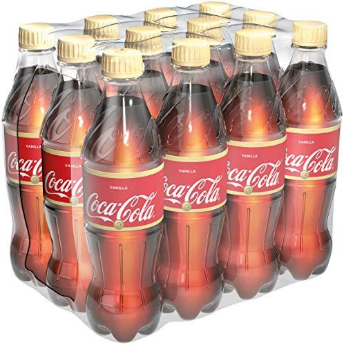 Coca-Cola Vanilla, Prickelndes koffeinhaltiges Getränk in praktischen Flaschen mit originalen Coca-Cola Vanille Geschmack, EINWEG Flasche (12 x 500 ml)