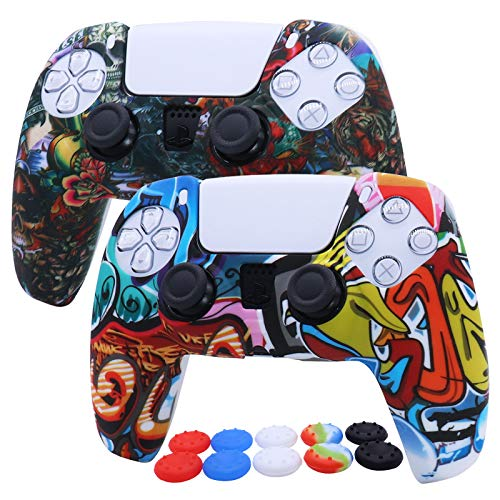 PS5 Controller Cover Silicone RALAN,Silicone Gel Controller Cover Skin Protector for PS5 /PS5 Slim/PS5 Pro Controller (Black Pro Thumb Grip x 8,Cat + Skull Cap Cover Grip x 2)(Wave White,Tattoo)
