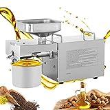 CGOLDENWAL Prensa de Aceite Electrónica 1200W Automatico de Acero Inoxidable Máquina de prensa de aceite丨Tasa de Extracción de aceite: hasta≥50% 丨para Gran Variedad de Semillas 220V