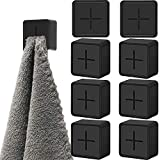 Jetec 6 Pieces Kitchen Towel Hook Self Adhesive Towel Hooks Silicone Towel Holder Hanger for Kitchen Silicone Towel Hook Non-Drilling Push Towels Holder Firmly Holds Towel Kitchen (Black)