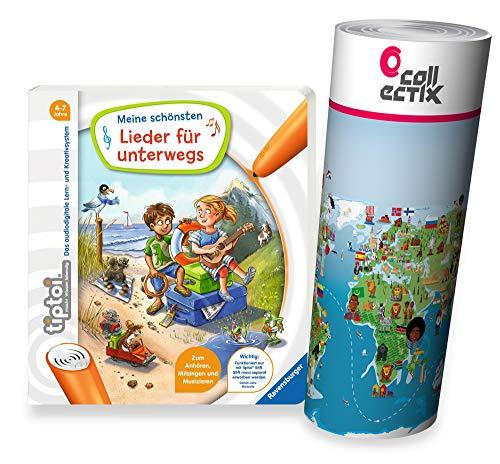 Collectix Ravensburger tiptoi Buch - Meine schönsten Lieder für unterwegs + Kinder Wimmel-Weltkarte | Kinderlieder 4-7 Jahre