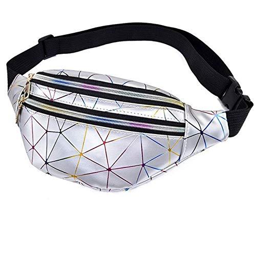 Sac à dos de sport à motif géométrique losange laser imperméable à la poitrine sac de poitrine mode extérieur équitation sac de téléphone portable