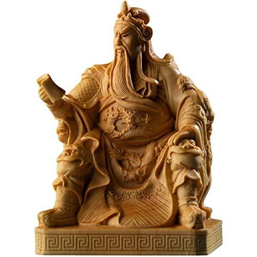 XIANGE100-SHOP Estatua China Guan Gong Estatua Tres Reinos Guandi Buda Estatua Madera Feng Shui Ornamentos Talla BodhisattVA Decoraciones para el hogar Regalos Chinos