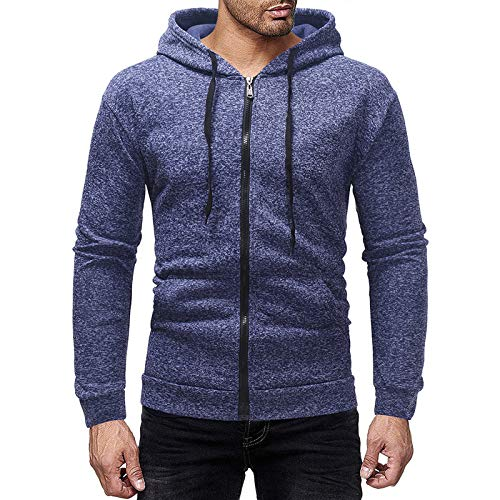 Mr.BaoLong&Miss.GO Autumn and Winter Mens Jackets Basic Cardigan Hooded Light Board Cationic Mens Sweater Hooded Sweater Jacket Royal Blue