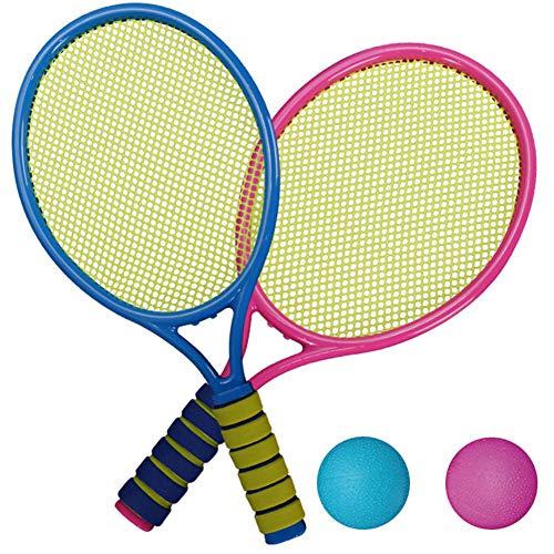 Catkoo Racchette da Tennis per Bambini 2 Pezzi Racchette in Maglia Elastica con 2 Palline Giocattolo per Sport All'aperto, Regali di Intelligenza per Bambini Perfetti per L'allenamento 9905B
