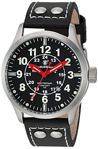 Smith and Wesson SWW-GRH-1 Mumbai Lamplighter Swiss Tritium Watch 10ATM with Leather Strap, Black
