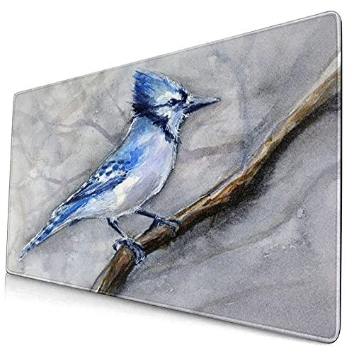 Nettes Mauspad ,Tier Blue Bird Birds Gemälde Jay Blue Jay Tiere Aq,Rechteckiges rutschfestes Gummi-Mauspad für den Desktop, Gamer-Schreibtischmatte, 15,8