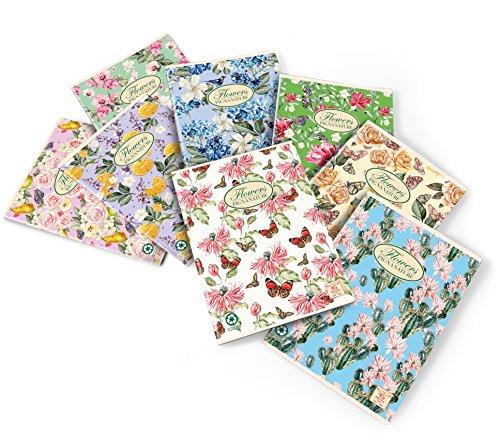 Con. 10 pz. 02088360C Maxi p.m. NATURE FLOWERS FF. 40+2 carta interna riciclata 80 gr, Rigatura 0C, righe con margine