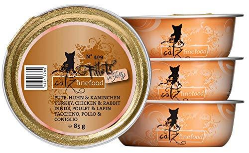 catz finefood Nourriture Humide pour Chat - N° 409 - sans céréales - pour la Dinde, Le Poulet et Les Lapins - Nourriture Humide sans Sucre - pour Chat