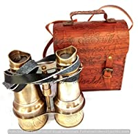 """Sifaat World - 6"""" Antique Solid Pure Brass Binocular with Protective Leather Case Cover having Supportive leather Neck Strap (Replica)"""