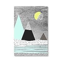 現代の幾何学的な山と太陽のファッション抽象ポスタープリントキャンバス絵画ホームルーム壁アート装飾40x60cmフレームレス