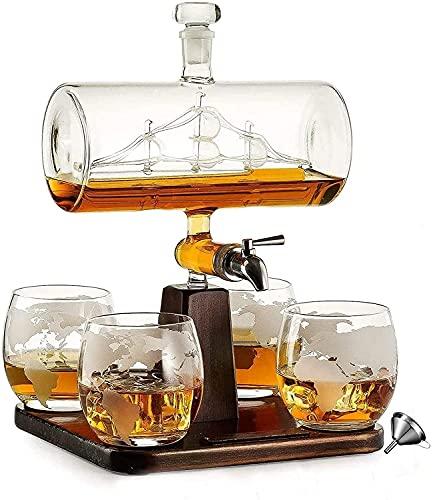 Ghongrm Adima Whiskey Decanter Subst, dispensador de Alcohol de 1000 ml con 4 Gafas, Base de Pino, Cobertura de cojinetes y Grifo de Acero Inoxidable, Regalo para papá, Marido o Novio