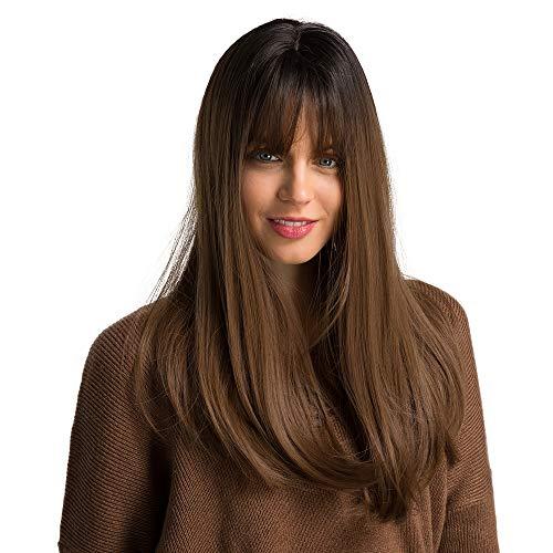 Peluca de mujer marrón Esmee de 20 pulgadas, recta larga natural con flequillo, peluca sintética resistente al calor.