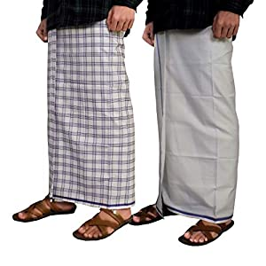 Riyashree men's cotton lungi for men free size 2 meter Combo (set of 2) MenLungi 006 008