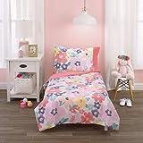 Carter's Pink, Orange & Mint Floral 4Piece Toddler Bed Set - Comforter, Fitted Bottom Sheet, Flat Top Sheet & Reversible Standard Pillowcase, Pink, Orange, Mint, Yellow