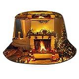Sombrero de pescador 3D de árbol de Navidad para chimenea y luces plegable, sombrero de verano para hombres y mujeres negro