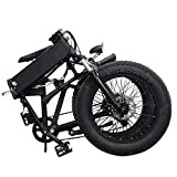 H&J Folding electric bicycle 20 inch snow electric bicycle (48V10AH) hidden battery 7 speed beach cruiser, mechanical shock absorber front and rear disc brakes + electronic brake