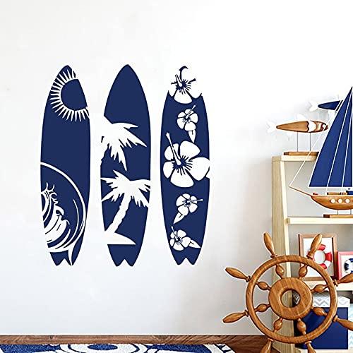 Vkjrro Conjunto de Etiqueta de Vinilo de Tabla de Surf Surfista Playa Hanami Hombre señoras Sala de Estar Pared Arte Dormitorio decoración 70x84cm