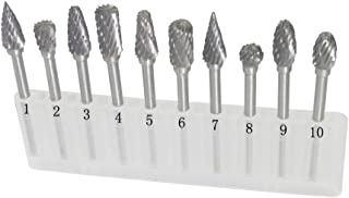 Carving Expert 10pcs Double cut 1/8in Shank Tungsten Carbide Rotary Burr Fit Dremel
