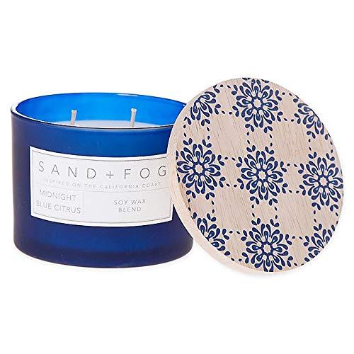 Sand + Fog Midnight Blue Citrus12 oz. Painted Lid Jar Candle with Blue Tile Design