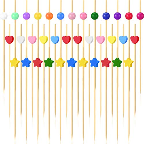 300 Counts 4.7 Inch Bamboo Cocktail Picks Natural Cocktail Toothpicks with Colorful Heart Circle Star Ornament Bamboo Skewer Appetizer Fruit Dessert Sticks for Bar Wedding Birthday Food Drinks Decor