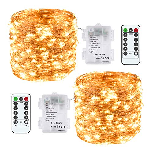 DeepDream 2 Pack String Light Battery Powered, Remote Twinkle Fairy Lights Waterproof Copper Wires 39ft/pack 120leds Warm White 8 Modes Timer Option for Wedding Party Home Bedroom Christmas Decoration
