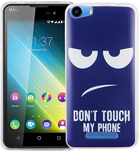 König Design Handy-Hülle kompatibel mit Wiko Lenny 2 Silikon Hülle Hülle Sturzsichere Back-Cover Handyhülle - Don't Touch My Phone Weiß Dunkelblau