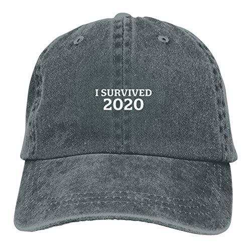 Greneric Ich überlebte 2020 Hut Papa Hut Baseballkappe Bestickte Vintage verstellbare Unisex Baseball Hut-Deep Heather
