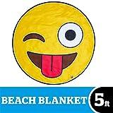 BigMouth Inc Giant Crazy Face Emoji Beach Blanket, Oversized Beach Towel, Ulta-Soft Microfiber Towel, 5 Feet Wide, Washing Machine Friendly