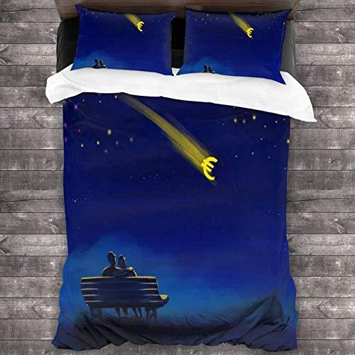 Maja Shop - Set di biancheria da letto unisex con scritta 'When You Wish Upon a Star', 3 pezzi, 200 x 70 cm, con chiusura a cerniera, in microfibra super morbida, per camera da letto e hotel