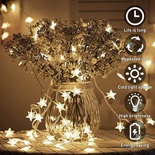 Lichterkette, 50 LED Stern Lichtervorhang batteriebetrieben, 5M Wasserdicht Dekorative Lichterkette mit 2 Modi Dimmbar für Außen Innen Garten Weihnachtsdeko Kinderzimmer Schlafzimmer Party, Warmweiß