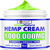 Natural Hemp Cream - 1,000,000 - Fast Relief - Muscle, Joint, Foot & Back with Hemp, Arnica, Turmeric | Natural Hemp Oil Extract Gel - Made in USA - 4oz