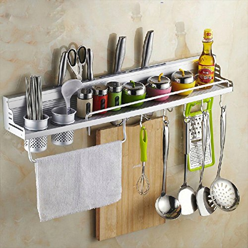 CFJ Space Aluminum Alloy Holder 60 Double Cup 8 Hook Aluminum sideband guardrail Multifunctional Kitchen Rack,Silver,One Size