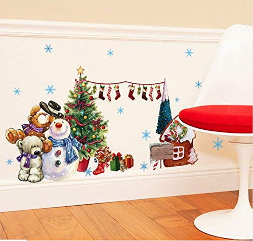 Stickers Muraux De Noël Bonhomme De Neige Sapin De Noël Décoration De La Maison Accessoires Vinyle Stickers MurauxPVC Stickers Muraux 45x60cm