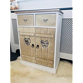 Home Delights Vintage Shabby Chic French Style Cabinet Rustic Bedroom Furniture Heart Cupboard Amazon Co Uk Kitchen Home