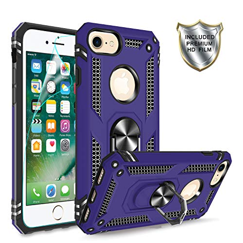 iPhone 6/6S Case, iPhone 7 Case, iPhone 8 Case with HD Screen Protector, Gritup 360 Degree Rotating Metal Ring Holder Kickstand Armor Bracket Cover Case for Apple iPhone 6/6S/7/8 Purple