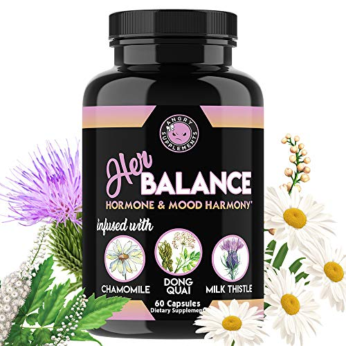 Her Balance, Women's Hormone and Mood Harmony, PMS Relief, Menopause Support, Infused with Chamomile, DongQuai, Milk Thistle and Black Cohosh by Angry Supplements, 60 Day Supply (1-Bottle) (1-Bottle)