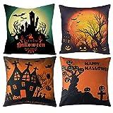 Gspirit 4 Pack Halloween Calabaza Algodón Lino Throw Pillow Case Funda de Almohada para Cojín...