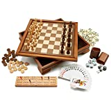 wooden backgammon board - Wooden 7-in-1 Chess, Checkers, Backgammon, Playing Cards, Poker Dices, Dominoes and Cribbage Board Game Combo Set