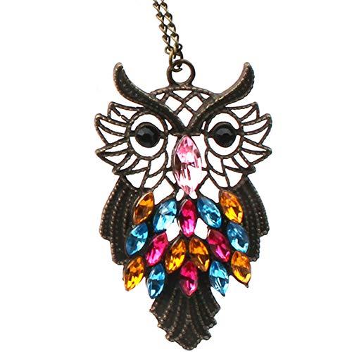 Noche Guardianes Cadena Larga Owl Forma Del Regalo De Collar Colgante De Cristal De Cristal De La Joyería Por Muchachas De Mujeres